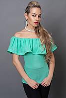Красивая блуза с воланами бирюзового цвета, р 40-48