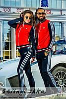 Спортивный костюм мужской и женский Adidas синие рукава
