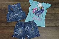 Джинсовый костюм- тройка для девочек 1- 5 лет