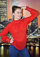 Блузка под горло с рюшками и длинными рукавами