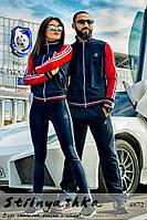 Спортивный костюм мужской и женский Adidas красные рукава