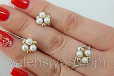 Набор женских ювелирных украшений из серебра с вкраплениями золота