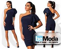 Оригинальное женское платье с ассиметрией на одно плечо темно-синее