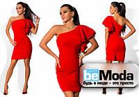 Оригинальное женское платье с ассиметрией на одно плечо красное