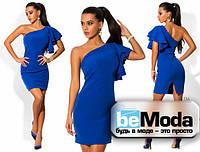 Оригинальное женское платье с ассиметрией на одно плечо цвета электрик