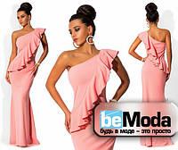 Шикарное женское платье в пол с воланом на груди нежно розовое