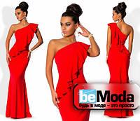 Шикарное женское платье в пол с воланом на груди красное