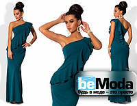 Шикарное женское платье в пол с воланом на груди бутылочное
