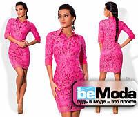 Очаровательное женское платье из гипюра розовое