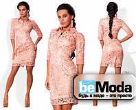 Очаровательное женское платье из гипюра нежно розовое
