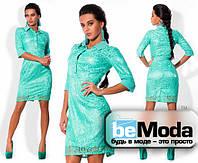 Очаровательное женское платье из гипюра мятное