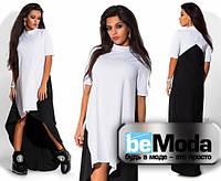 Эффектное асимметриченое платье с контрастными вставками черно-белое