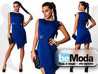 Эффектное женское платье с ассиметрией цвета электрик