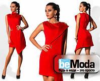 Эффектное женское платье с ассиметрией красное