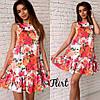 Цветочное платье с рюшей и поясом, фото 5