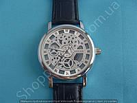 Часы Rolex 113961 женские серебристые на черном ремешке из кожзама скелетон копия, фото 1