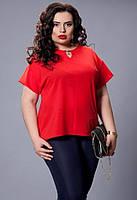 Летняя блуза батал красного цвета, р 50-58