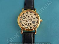 Часы Rolex 113962 женские скелетон золотистые на черном ремешке из кожзама