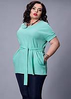 Удлиненная блуза батал бирюзового цвета, р 52-58