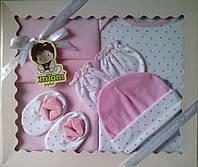 Подарочный комплект - одежда и флисовый плед, для новорожденной, 5 предметов.
