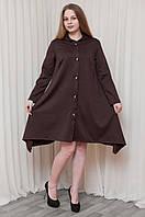 Оригинальное женское платье-кардиган шоколадного цвета