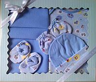 Подарочный комплект - одежда и флисовый плед, для новорожденного, 5 предметов.