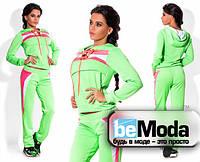 Стильный женский спортивный костюм с яркими вставками салатовый