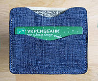 Cупер тонкий портмоне-картхолдер для карточек и купюр, синий, кожа-джинс.