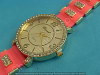 Часы Chopard 113965 женские золотистые со стразами на розовом ремешке из силикона