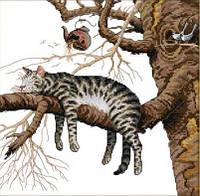 Вышивка крестом набор Кот на дереве 38х38 см (арт. MK001)