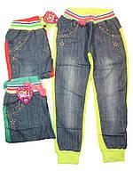 Штаны спортивные  для девочек джинс/трикотаж, размеры  4,12 лет, арт. КК-179