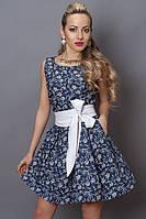 Синее платье Мила в белый крупный горох, р 44,46,48