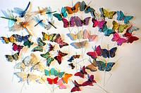 Бабочки на проволоке и прищепке искусственные