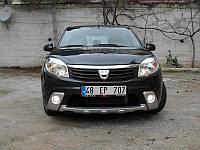 Накладки на передний бампер (3 шт, под покраску) - Dacia Sandero (2007-2013)