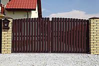 Ворота распашные штакетник металлический