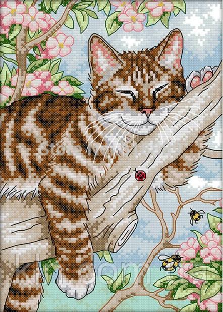Вышивка крестом набор Кот на дереве 23х33 см (арт. MK002)