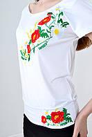 """Вышитая футболка с манжетом """" Мак -ромашка"""""""
