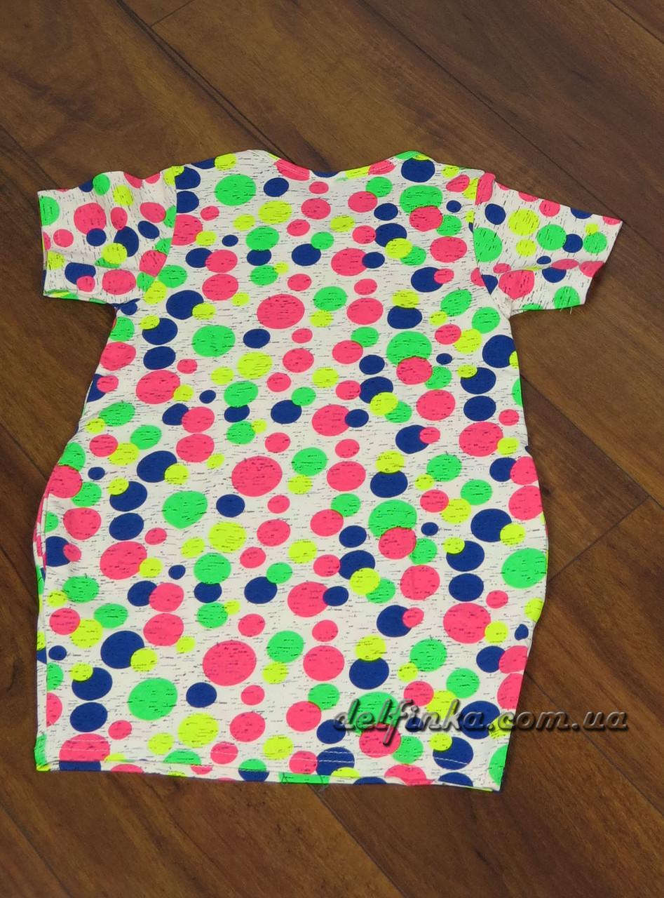 Трикотажная туника - платье с карманами бабочка для девочки от 3-6 лет, фото 2