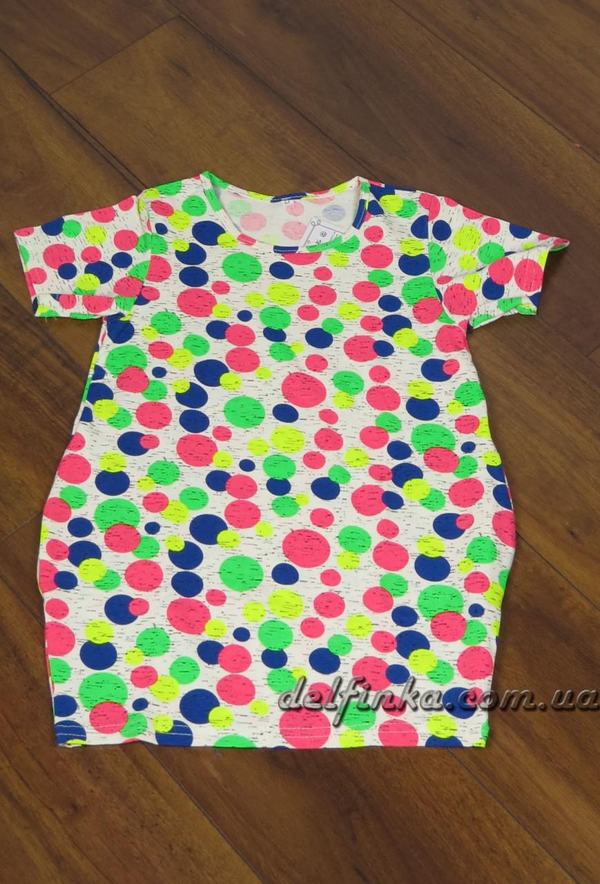 Трикотажная туника - платье с карманами бабочка для девочки от 3-6 лет, фото 1