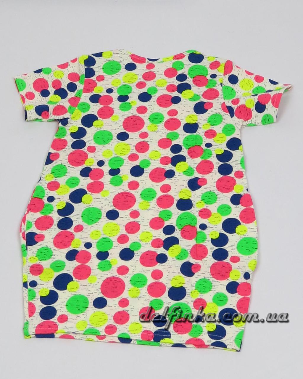 Трикотажная туника - платье с карманами бабочка для девочки от 3-6 лет, фото 3