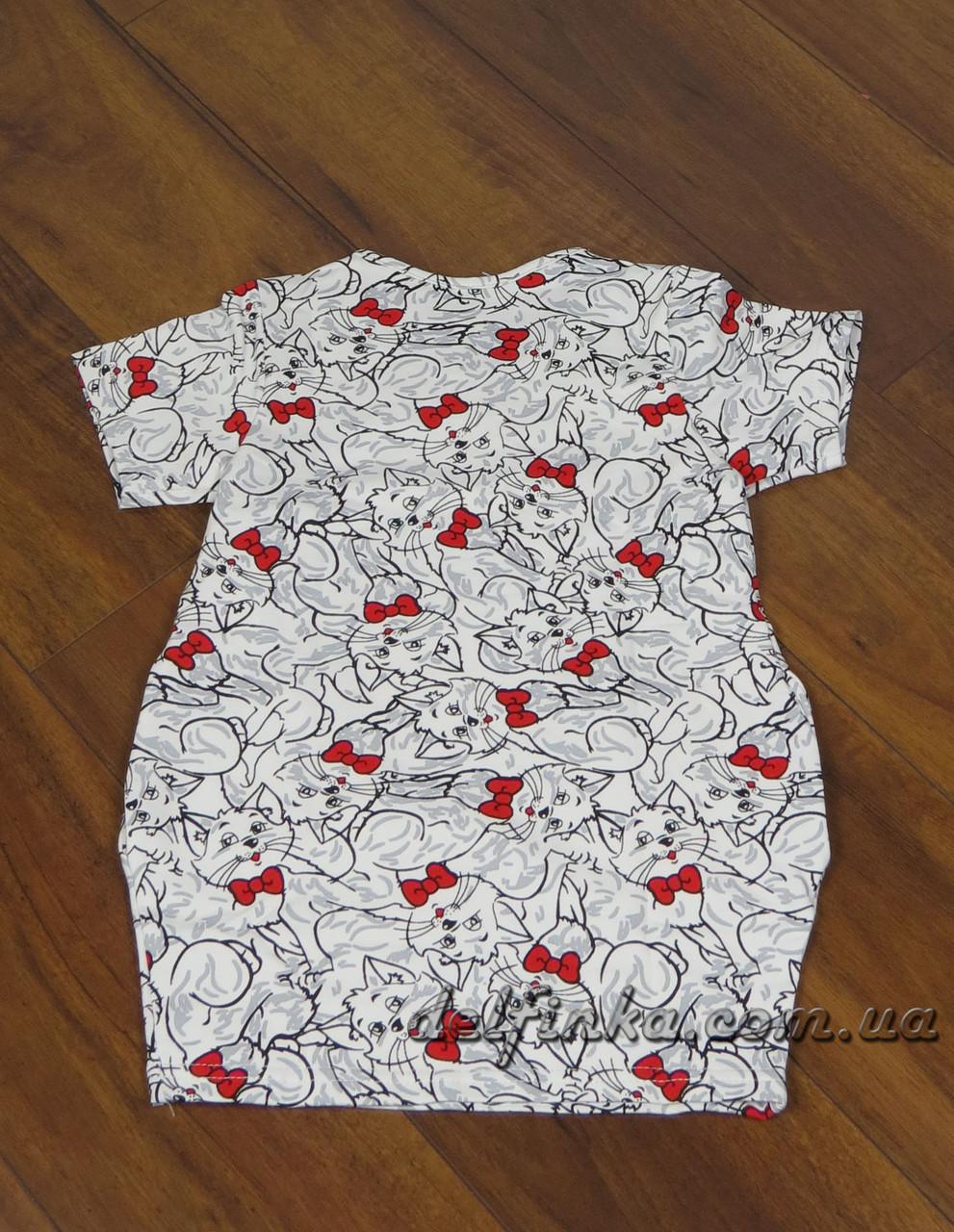Трикотажная туника - платье с карманами с 7 до 10 лет, фото 2