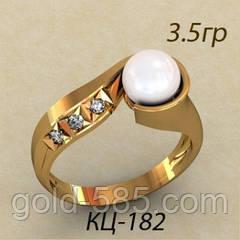 Великолепное Золотое кольцо 585* с Жемчугом