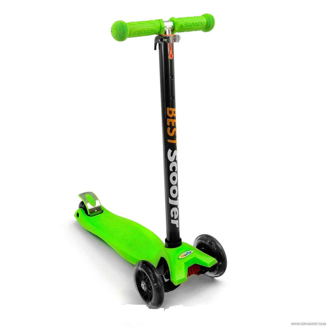 """Самокат трехколесный  """"SCOOTER""""  466-113 Зелёный, пластмассовый, свет. колеса PU"""