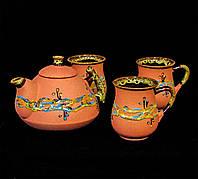 """Чайний набір Ґорґани на три персони декор """"Крайка"""" червоний, фото 1"""