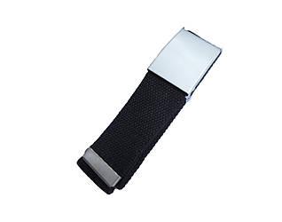Ремень текстильный черный  с серой пряжкой