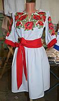 """Жіноче плаття """"Маки"""" біле"""