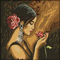 Вышивка крестом набор Девушка с розой 38*38 см (арт. MK015)