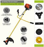Бензокоса Іскра ІБТ-4850 Professional у комплекті 3 ножа і 2 котушки потужністю 4,85 кВт
