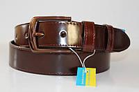 Ремень кожаный класический лаковый 40 мм цвет вишнёвый пряжка коричневая хромовая текстурированая