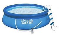 Бассейн надувной Intex Easy Set (457*122см) семейный круглый (фильтр, лестница, тент, коврик, помпа)